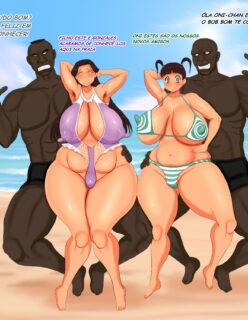 Minha mãe e irmãs na praia